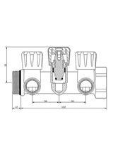 Συλλέκτης Top Γωνιακός Μηχανισμός 90° 3/4'' Brass Form 552 (3 Παροχές)